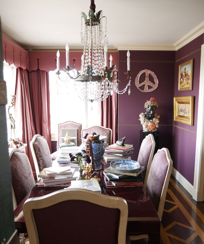 8.1.14: Alex Papachristidis   New York Social Diary  dining room/library....fortuny...velvet studded walls.....valences......Lordy!  lacquer  cabinet on stand!  don't miss anything!!!  Sensational!!!