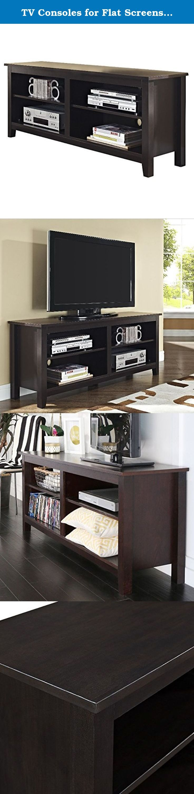 TV Consoles for Flat Screens 60 Inch Entertainment Center - Media Stand Furniture 4 Storage Shelves is Best for Flat Screen Televisions 46, 50, 55, 60 in Espresso Bundle w Anti-slip Accessory Pad. The TV console for flat screens 60 inch is perfect for accommodating home televisions from 46 inches up to 55 and 60, and all the media that goes with it! Complete with 4 large storage compartments for your AV components and much more! TV console furniture comes in a brown finish for a modern...