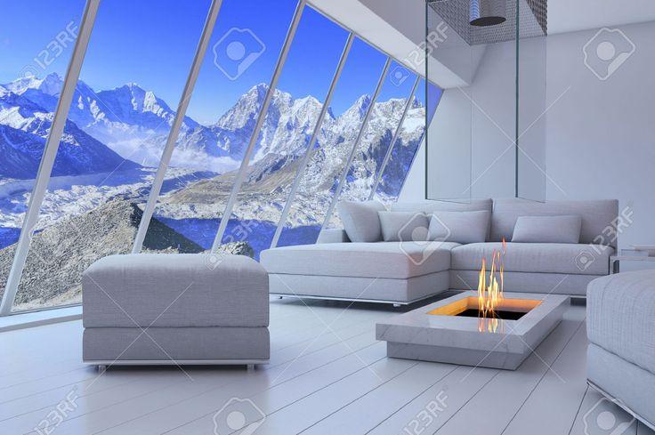 3D-рендеринг диван и камин с декорациями видом на горы. Фотография, картинки, изображения и сток-фотография без роялти. Image 32226208.