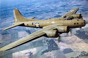 The Boeing B-17 Flying Fortress is a four-engine heavy bomber aircraft developed in the 1930s for the then United States Army Air Corps (USAAC). Competing against Douglas and Martin for a contract to build 200 bombers, the Boeing entry outperformed both competitors and more than met the Air Corps' expectations.  1938  wem