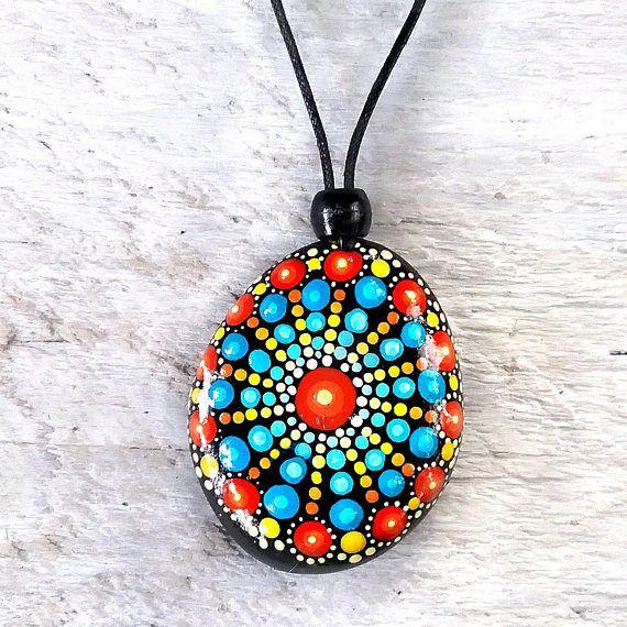 Mandal stone necklace painted mandala stone mandala