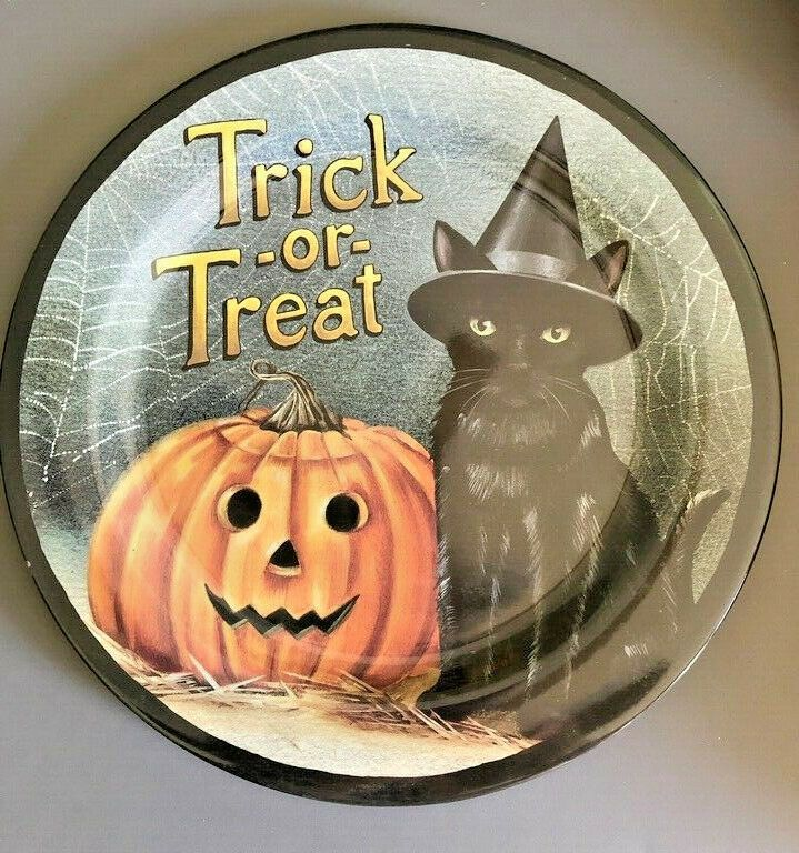 "Happy Halloween Pumpkin Dinner Plates Set of 6 Melamine 11/"" New Spooky"