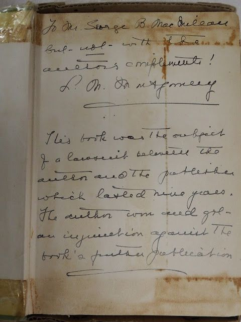 """A copy of """"Further Chronicles of Avonlea"""" sent to G.B. MacMillan Photo by Bernadeta Milewski LM Montgomery Institute and UPEI Robertson Library (University Archives and Special Collections)"""
