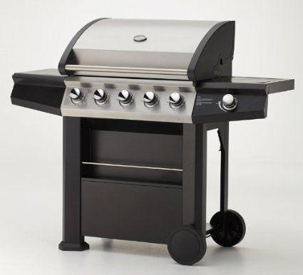 Gasgrill MAXXUS® BBQ CHIEF 7.0 schwarz - 5 Edelstahlbrenner, doppelwandige Haube, Seitenbrenner, Fettwanne