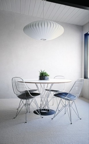 Lovely Wire Chairs, Noguchi Table And Saucer Lamp All From Modernica.