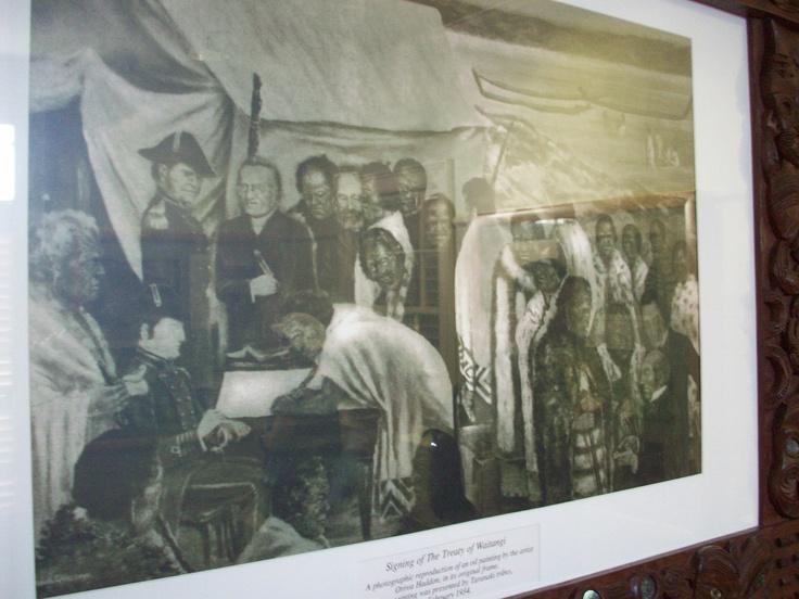 The signing of the Waitangi Treaty.