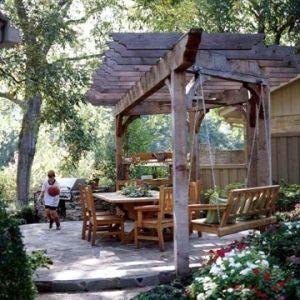 Backyard landscaping idea garden structure backyard dining for Garden structure designs