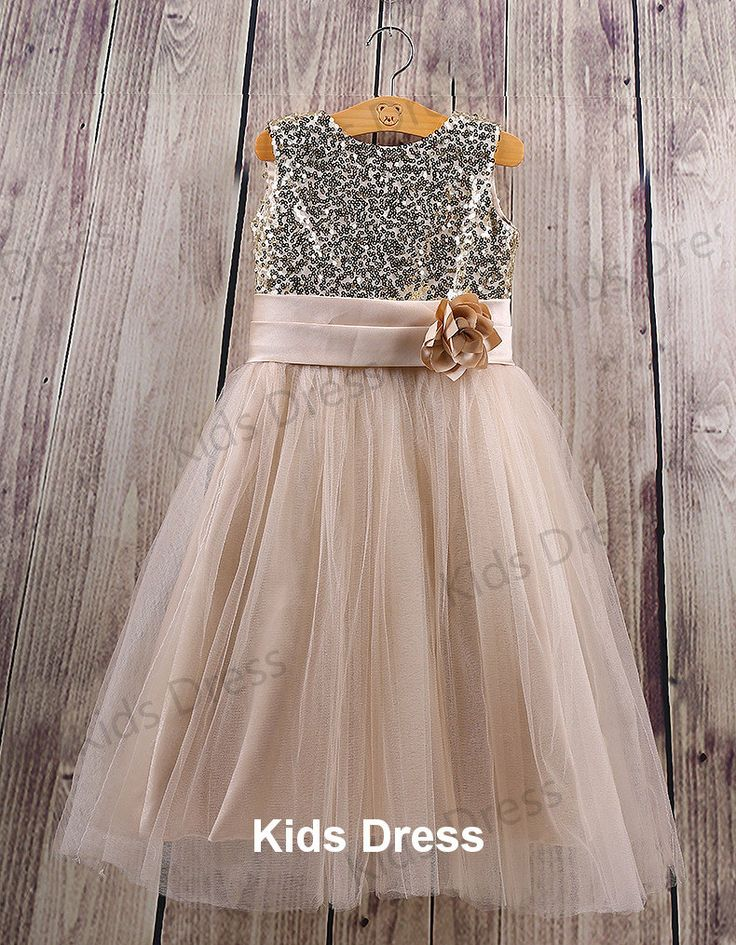 Aline+Scoop+Tulle+Flower+Girl+Dress+With+Gold+Sequins+by+kidsdress,+$37.00