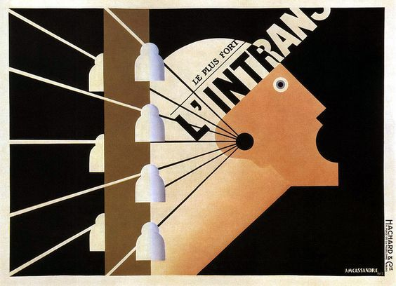 A. M Cassandre. Poster for the Paris newspaper L'Intransigeant, 1925. A pictographic image of Marianne, the symbolic voice of France, urgently shouts news received over telegraph wires.