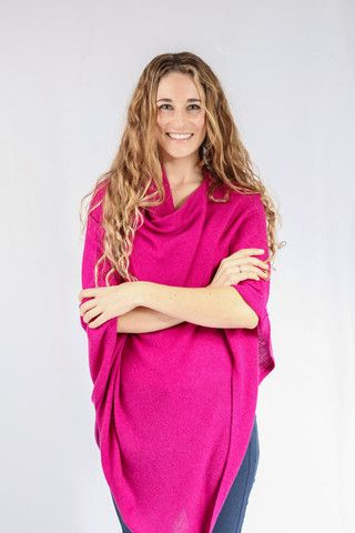 Fuscia Pink 100% Cashmere Poncho for sale in South Africa – Pebble&Jack