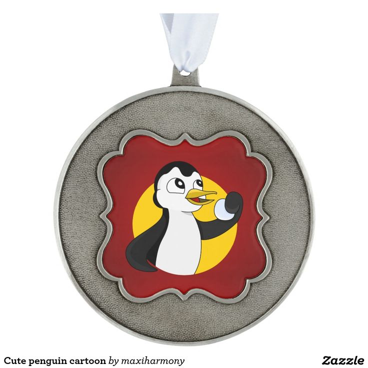 Cute penguin cartoon scalloped pewter christmas ornament