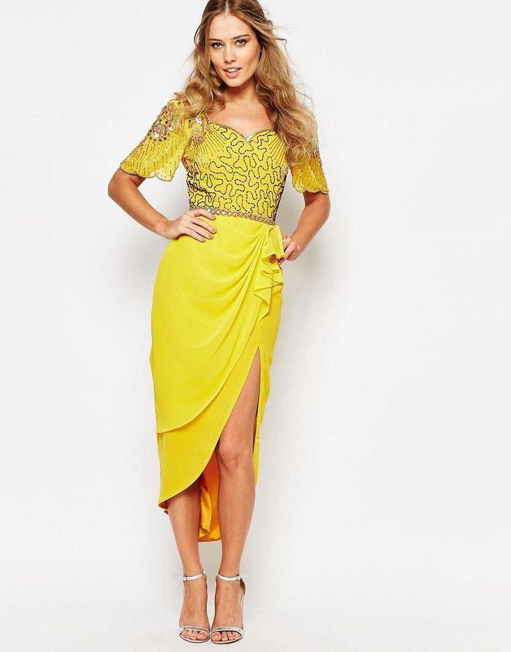 Virgos Lounge | Virgos Lounge Laila Embellished Midi Dress With Thigh Split at ASOS