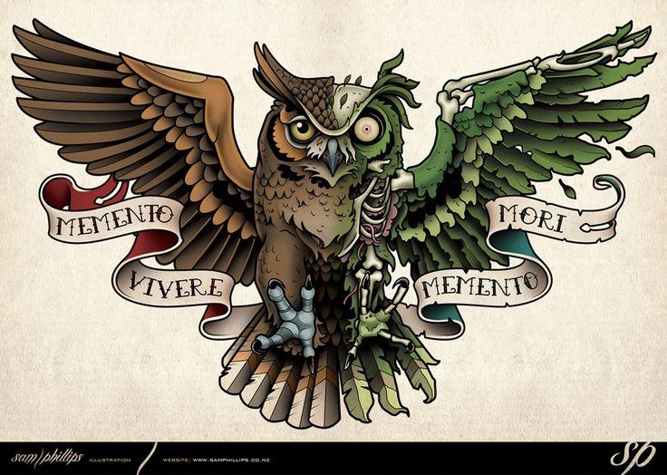 Zombie Owl Tattoo by Sam-Phillips-NZ.deviantart.com on @DeviantArt