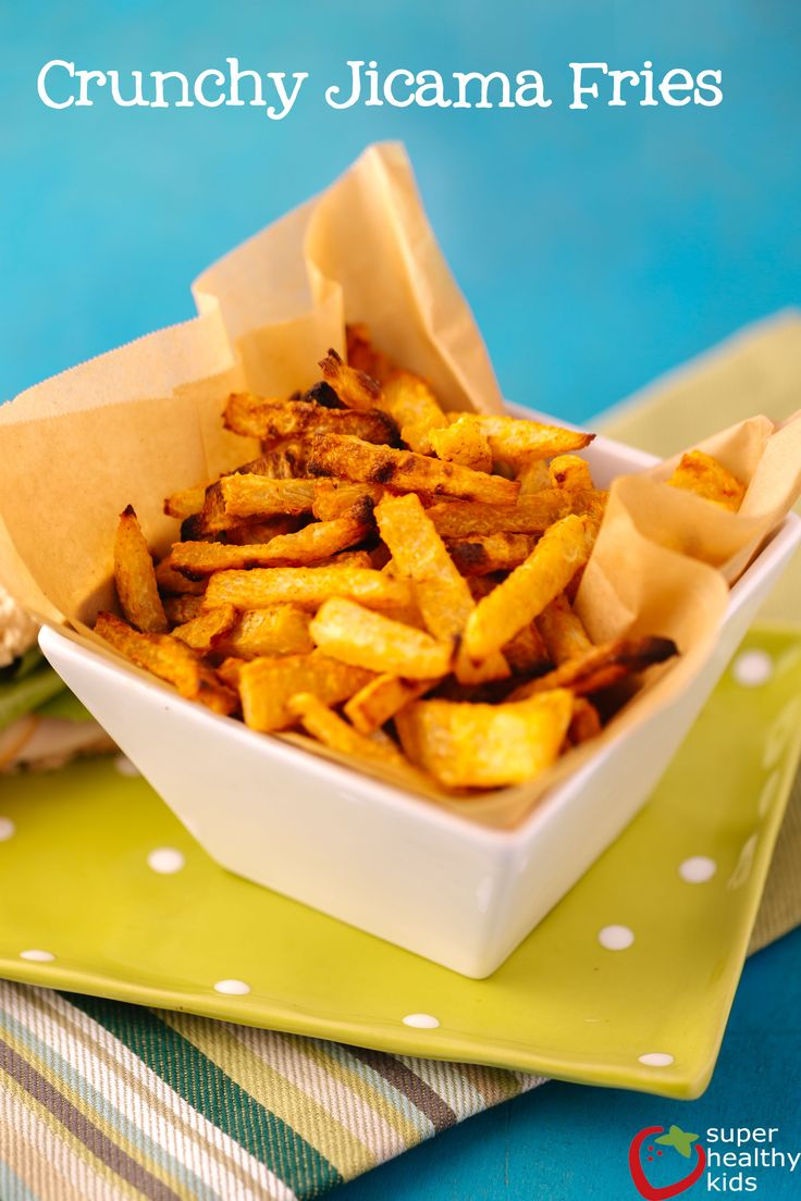 FOOD - If you are looking for a healthy french fry, try these healthy jicama fries. They are crunchy, easy to make and super delicious! http://www.superhealthykids.com/quick-and-easy-snack-jicama-fries/