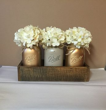 Rustic Planter Box Set with 3 Painted Mason Jars, Gold, Rustic Decor, Wedding Centerpiece, Rustic Decor, Mason Jar Decor, Rustic Centerpiece
