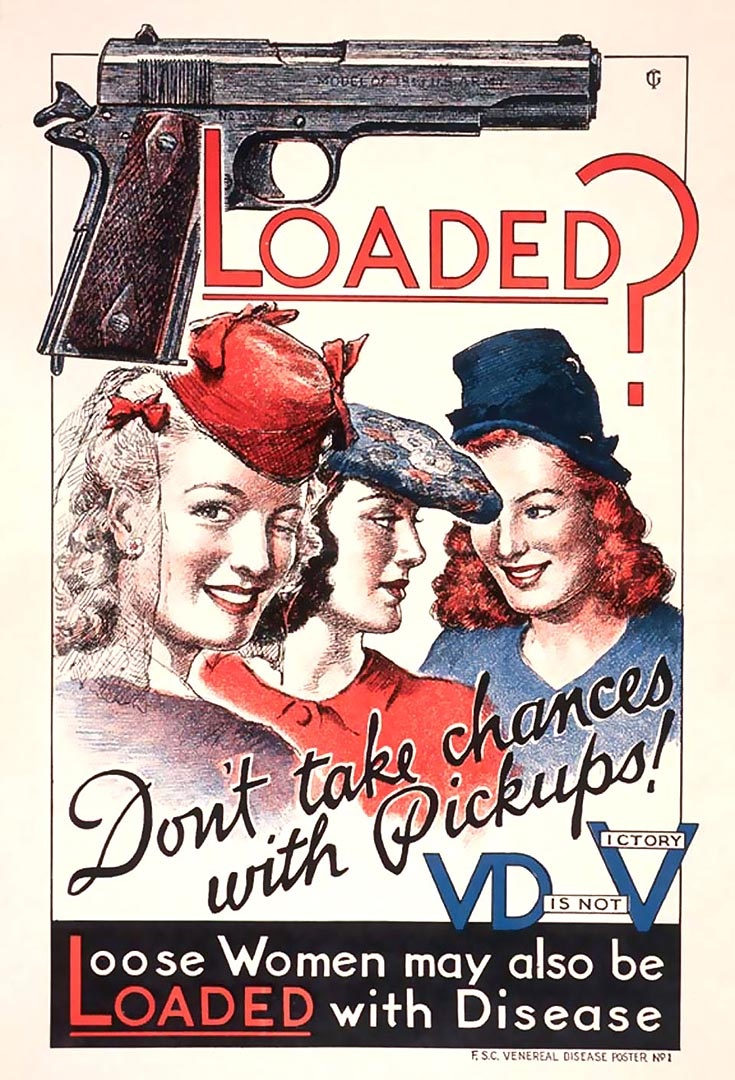 A World War II poster warning against the risks of ...