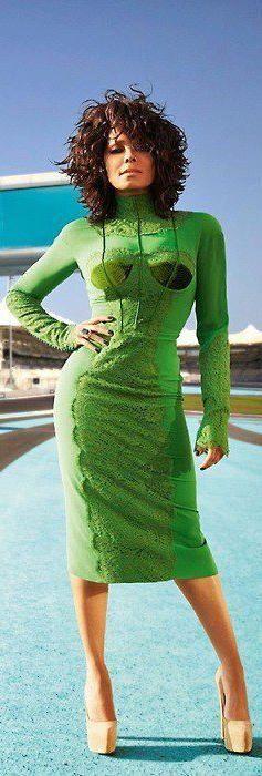 Janet Jackson in green long-sleeved dress