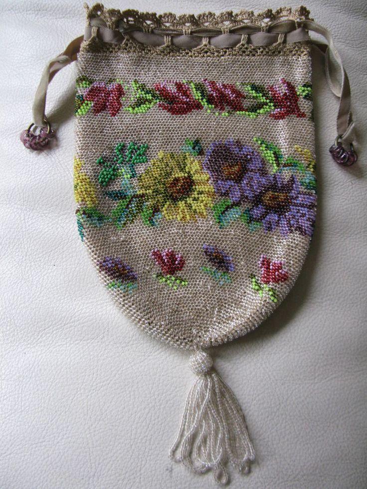 Antique Victorian Tan Crochet Knit Champagne Purple Drawstring Reticule Purse #Drawstring