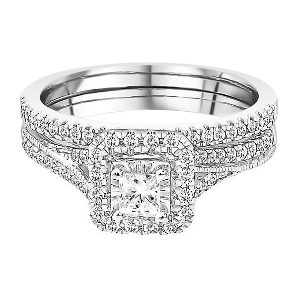 1 2 Ct Tw Diamond Engagement Ring Set In 10k White Gold Halo Engagement Ring Sets Fashion Rings Engagement Ring Settings