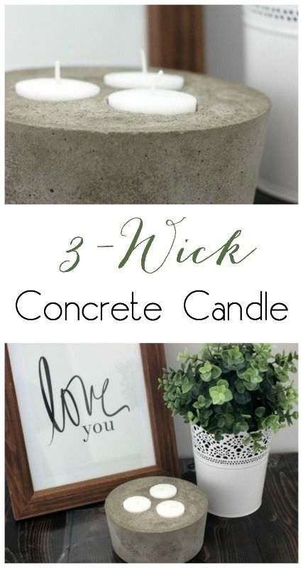 Love this DIY concrete candle for the patio! So easy to make!