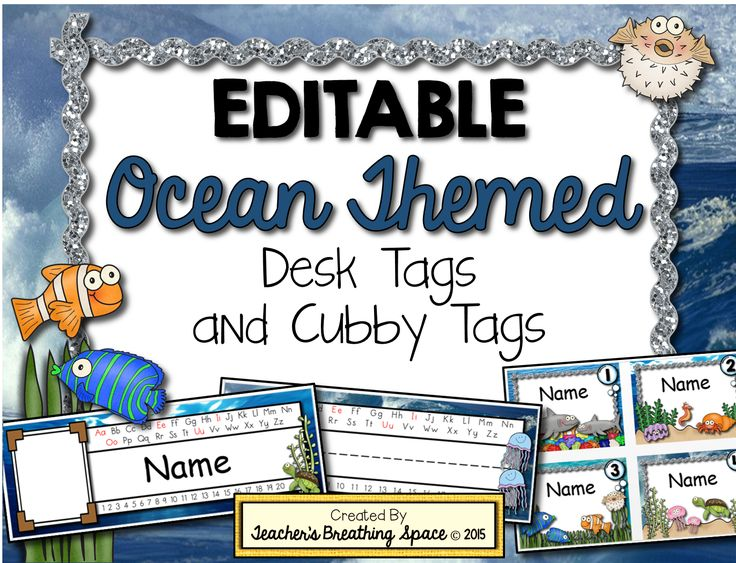 Editable Ocean-Themed Desk Tags and Cubby Tags. Included in this set are 4 different styles of editable desk tags in a variety of adorable ocean-themed designs AND editable cubby tags numbered 1 - 36.