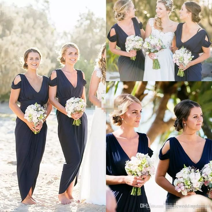 Modest Navy Blue Long Bridesmaid Dresses Sheath Front Split Sexy Cap Sleeves 2017 Country Beach Wedding Party Gowns Maid Of Honor Dress Plus Little Bridesmaid Dresses Long Bridesmaid Dress From Magicweddingdresses, $85.08| Dhgate.Com