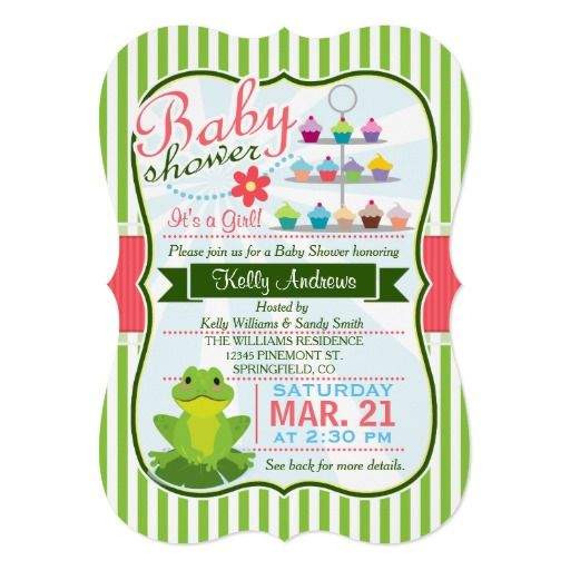 green pink and white frog theme baby shower card