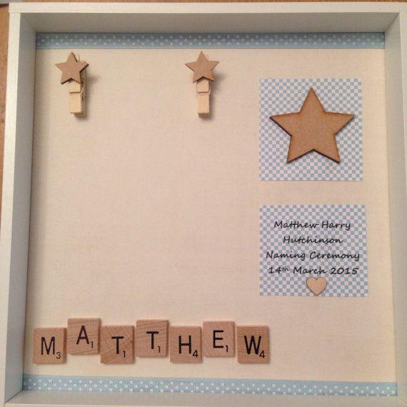 Christening newborn frame baby boy girl by ButtonNButterflies
