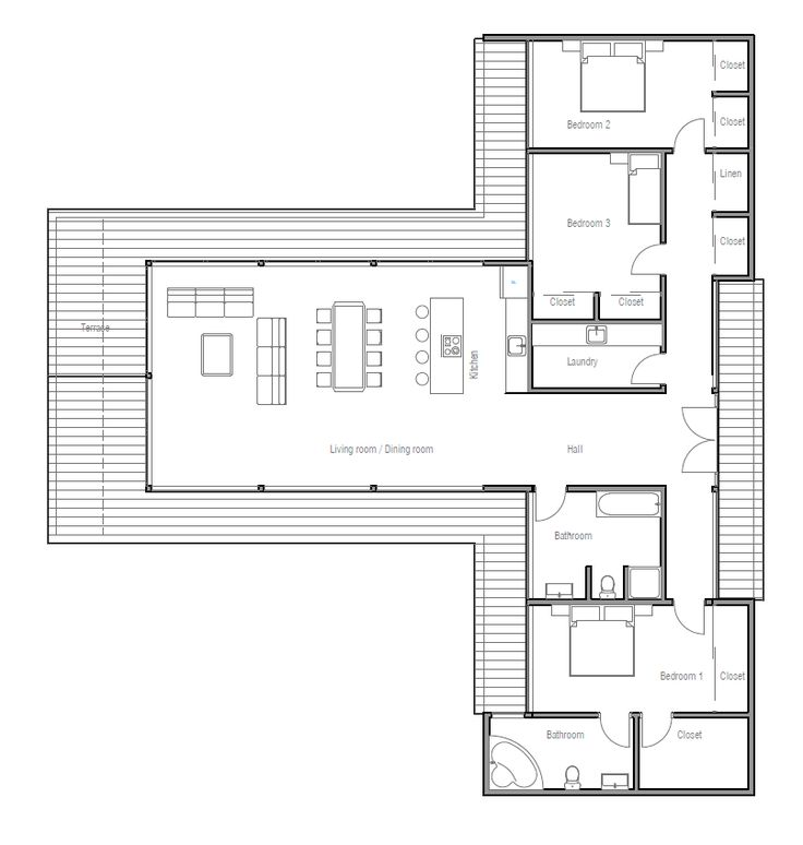 Modern contemporary house plan with three bedrooms and for Modern one bedroom house plans