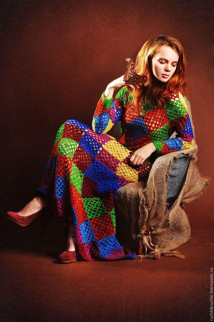 """Купить Платье """"Кашемировый арлекин: Королева"""" крючком из кашемира - комбинированный, в клеточку, платье, вязание"""