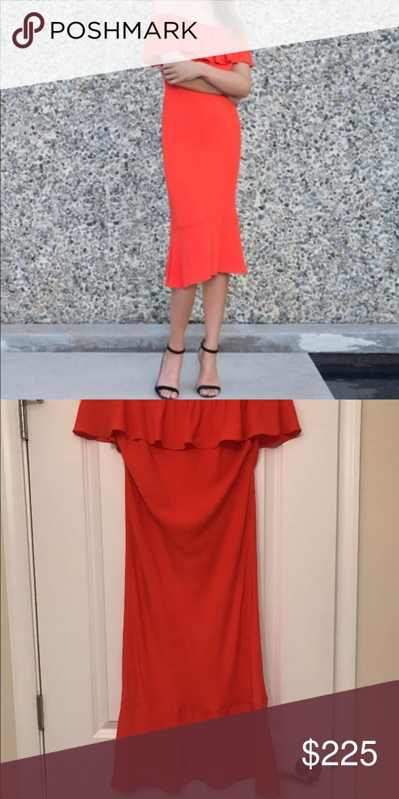 Veronica Beard Oleta Red Off The Shoulder Dress 6 Worn once. Bought new for $550. Small water stain (see pic) bottom of ruffle. Have to look hard.  Off the shoulder neckline Short sleeves Ruffle popover trim at at bust Sheath silhouette Flounce hem Rayon  Beautiful orange red (geranium) color! Veronica Beard Dresses