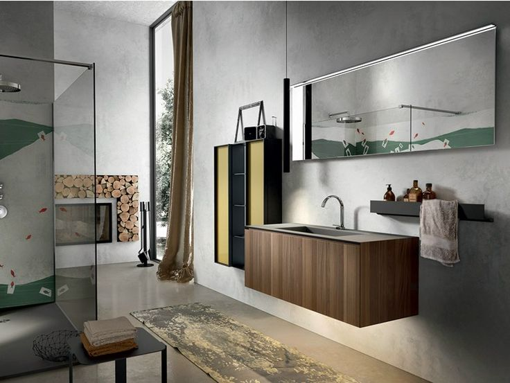 Mueble bajo lavabo suspendido en nogal con contenedor CHRONO 306 Colección Chrono by Edoné by Agorà Group | diseño Marco Bortolin