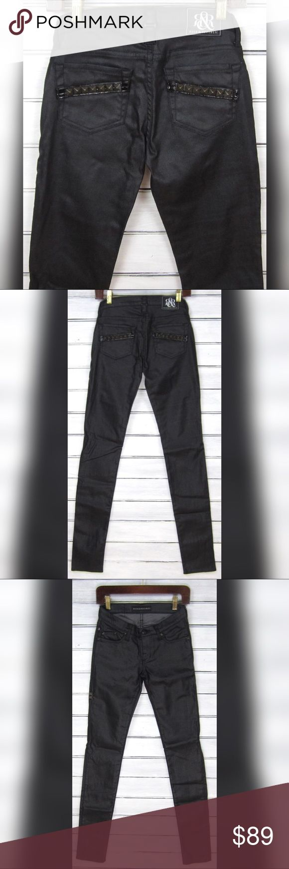 """Rock & Republic Black Coated Studded Skinny Jeans Ladies Rock & Republic PREMIUM (original collection!) black wax coated skinny jeans! Features a low 7"""" rise and awesome pyramid studded accents on the back pockets. SAMPLE-never mass produced! Classic zipper/button closure, denim has a nice amount of stretch though the material content isn't listed. Awesome waxy coated finish, made in the USA!   Tagged size 25, please refer to all measurements to guarantee a perfect fit!   New without tags…"""