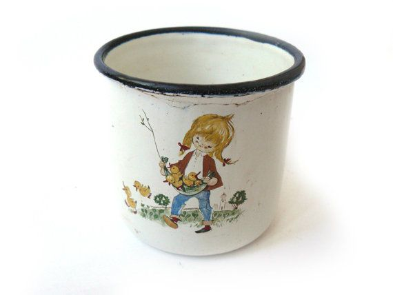 Enamel mug with picture, vintage mug with girl, iron mug, white mug, Soviet Cup, Floral decor Home decor, white enameled cup   This mug is very old, approximately 70th. In ... #tableware
