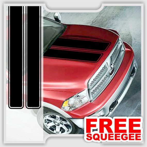 Dodge Ram Sport Truck Hood Double Stripe  Vinyl Decal Custom Stickers(02DR-001)