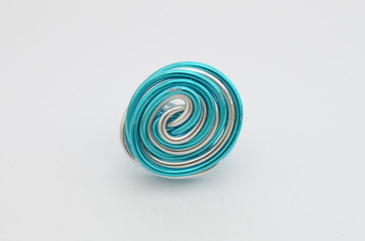 Wire ring, summer, spring , blue and silver by MadebyLaure on Etsy