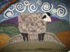 LEICESTER SHEEP RUG ~ commission piece ~ my design hooked with fleece, sweaters, roving, wool