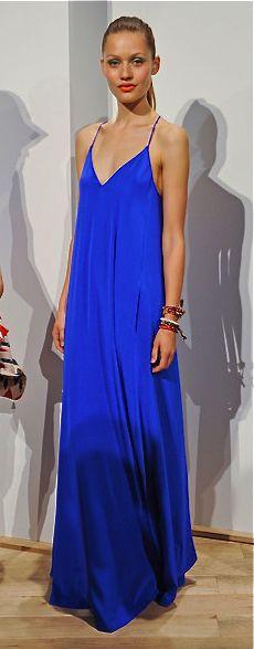 J. Crew silk maxi dress in cobalt blue. #JCrew