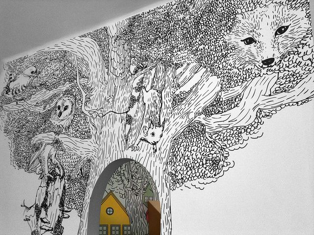 Cool kid's room wall idea - looks like a children's book illustration.
