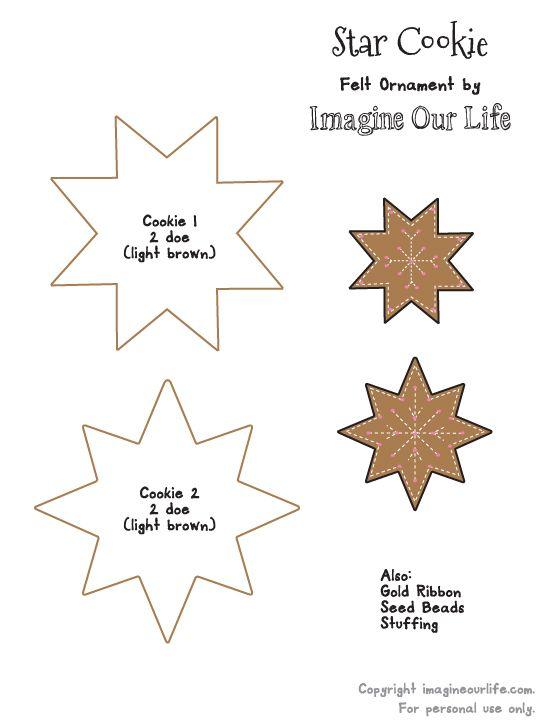 Felt Gingerbread Star Cookie Ornament