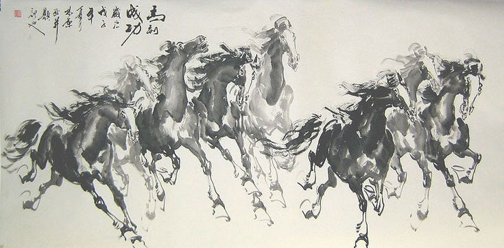 watercolor horse artist | There has to be 8 running horses for a Chinese painting.