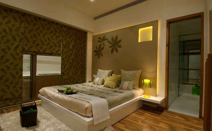 Luxury Bed Room has a peaceful decor with its shades of greens and browns, Design by Shahen Mistry, Interior Designer in Mumbai, Maharashtra, India