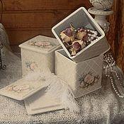 """Для дома и интерьера ручной работы. Ярмарка Мастеров - ручная работа Набор коробочек для хранения """"Жемчужный букет"""". Handmade."""