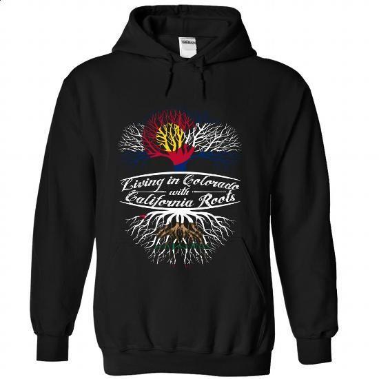 Living in Colorado with California Roots - #sleeveless hoodie #pink hoodie. GET YOURS => https://www.sunfrog.com/States/Living-in-Colorado-with-California-Roots-rvtdlskmuu-Black-Hoodie.html?60505