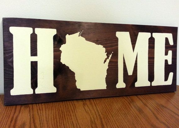 Wisconsin State Map Home Wood Sign