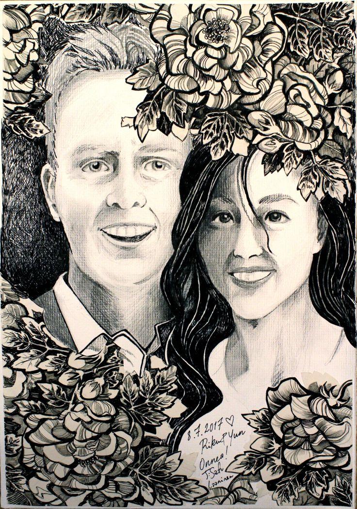 drawing, portrait, wedding couple, loving couple