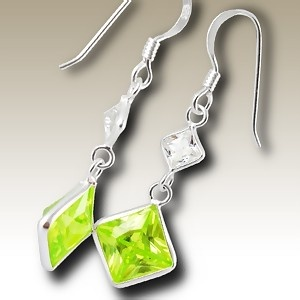 Squares Cubic Zirconia stone earings - Finishing: Hand polished 925 Sterling silver+E-coat 925 Sterling silver Design from Bangkok925.com  Dimensions:  2.4cm.  nice  Silver CZ Earrings at $5.85
