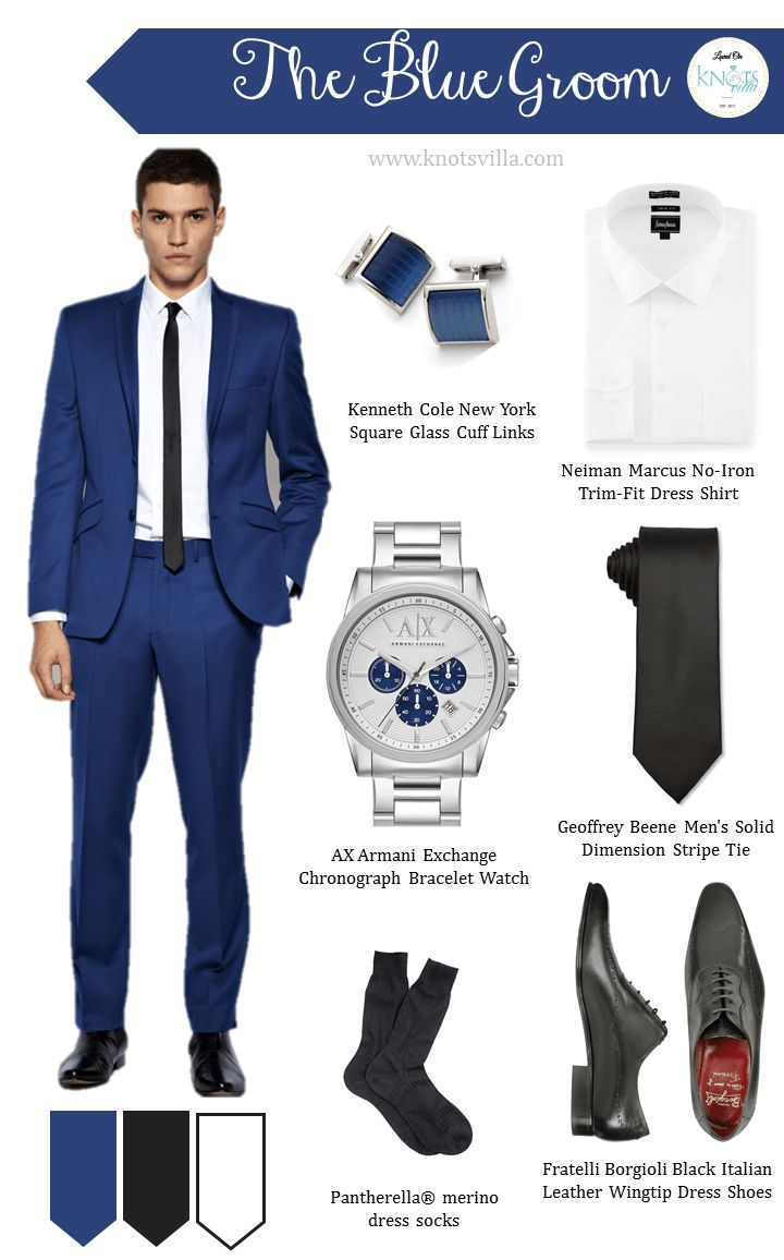 Blue suot for the groom! Prefer a deeper blue (e.g. Navy blue)