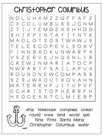 best christopher columbus ideas what did   christopher columbus word search drive google