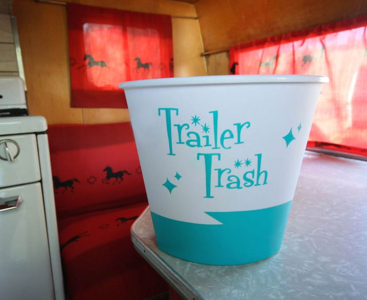 """Blue """"Trailer Trash""""  for  Vintage Canned Ham Shasta Travel Trailers COMES IN OTHER COLOR AS WELL"""